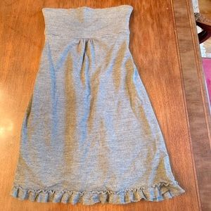 J Crew Size 2 Strapless Ruffle Dress in Gray